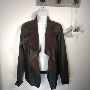 C. Luce brown shawl collar open front jacket sz. L